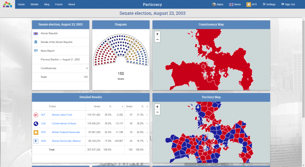 Election page screenshot